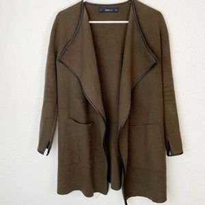 Zara Knit Green Open Cardigan Sweater Small